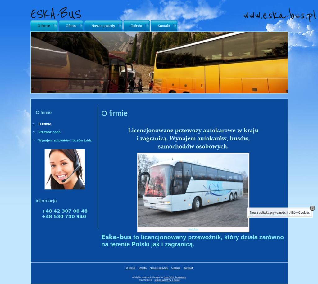 PRZYKŁAD STRONY DLA WYPOŻYCZALNI AUTOKARÓW przewóz osób Łódź, wynajem autokarów łódź, wynajem busów łódź