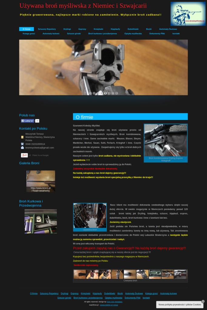 Przykład strony dla firmy prowadzącej sprzedaż broni myśliwskiej broń myśliwska