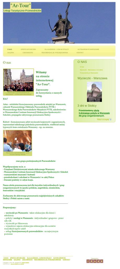Przykładowa strona dla usług turystycznych noclegi Warszawa, wycieczki Warszawa, przewodnik po Warszawie