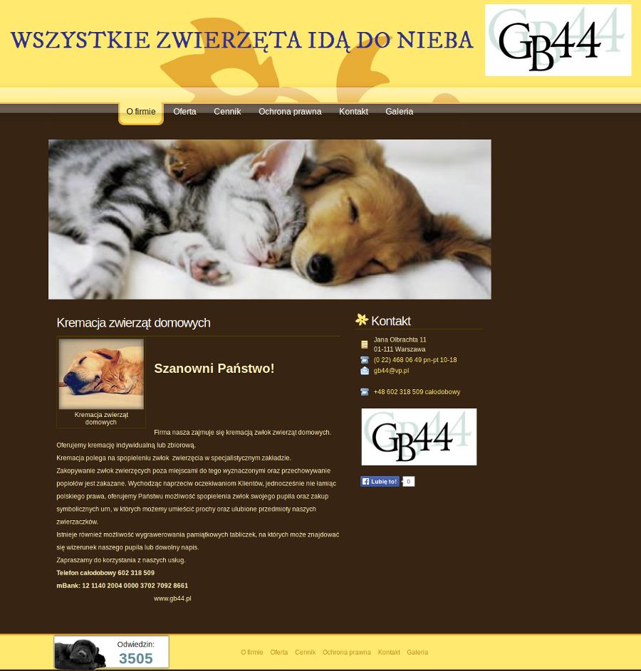 PRZYKŁADOWA STRONA DLA USŁUG KREMACJI ZWIERZĄT, kremacja zwierząt domowych, kremacja psów, kremacja kotów