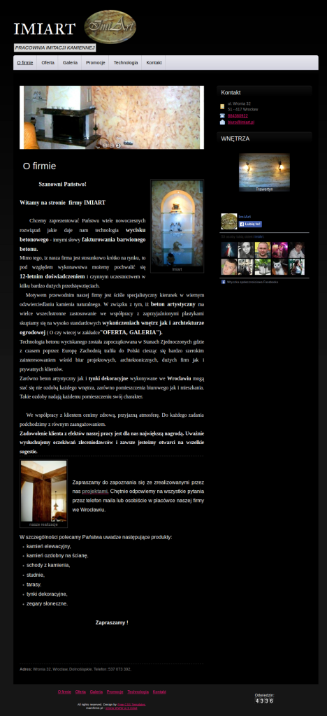 Przykładowa strona dla usług fakturowania barwionego betonu, tynki dekoracyjne wrocław, tarasy wrocław, studnie wrocław, zegary słoneczne, zegary słoneczne, schody wrocław